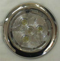 SILHO 2 3/4 inch Round White LED Light with Stainless Steel Ring. 12 Volt Only.