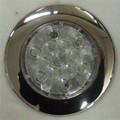 SILHO 4 inch Round White LED Light with Stainless Steel Ring. 12 Volt Only.