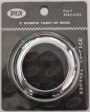 Chrome 2 inch Round Twist On Light Bezel. No Visor. Suits 2 inch Round Lights. No Screws.