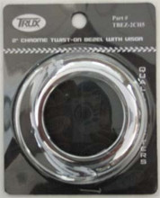 Chrome 2 inch Round Twist On Light Bezel with Visor. Suits 2 inch Round Lights. No Screws.
