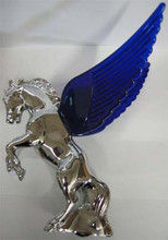 Chrome Fighting Stallion Hood Ornament with Blue Illuminated Wings.