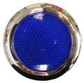 Round Blue Reflector with Chrome Rim - Pair
