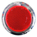 Round Red Reflector with Chrome Rim - Pair