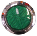 Round Green Reflector with Chrome Rim - Pair