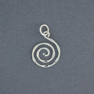 Sterling Silver Small Hammered Spiral Pendant