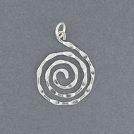 Sterling Silver Medium Hammered Spiral Pendant