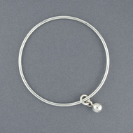 Sterling Silver Sphere Charm Bangle