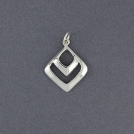 Sterling Silver Small Double Diamond Pendant
