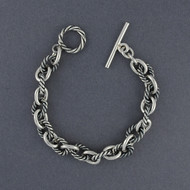 Sterling Silver Antiqued Rope Link Bracelet