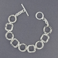 Sterling Silver Hammered Shapes Bracelet