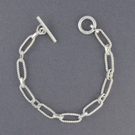 Sterling Silver Twisted Ovals Link Bracelet