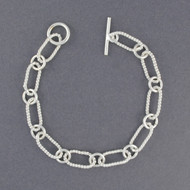 Sterling Silver Large Twisted Oval Link Bracelet