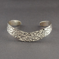 Sterling Silver Curved Hammered Cuff