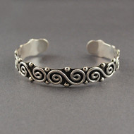 Sterling Silver Antiqued Swirls and Dots Cuff