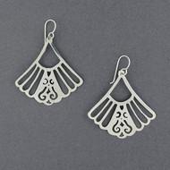 Sterling Silver Ornate Fan Earrings