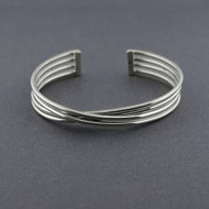 Sterling Silver Thin Crossover Cuff