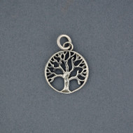 Sterling Silver Small Tree in Circle Pendant