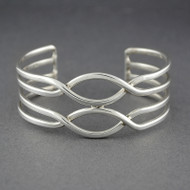 Sterling Silver 4 Line Wave Cuff