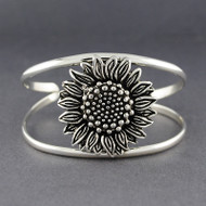 Sterling Silver Antiqued Sunflower Cuff Bracelet