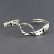 Sterling Silver Wrapped Open Twist Cuff