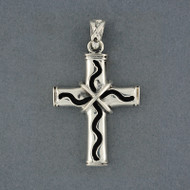 Sterling Silver Wavy Cross Pendant