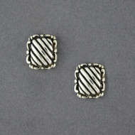 Sterling Silver Striped Post Earring