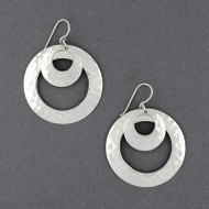 Sterling Silver Double Hammered Circle Earring