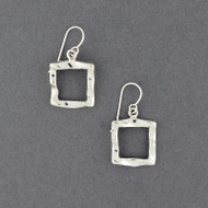 Sterling Silver Wavy Open Square Earrings