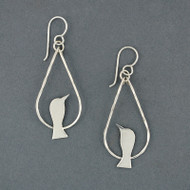 Sterling Silver Bird On Wire Earrings
