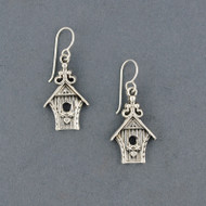 Sterling Silver Bird House Earrings