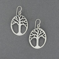 Sterling Silver Tree In Oval Earrings