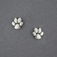 Sterling Silver Paw Print Stud Earrings