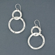 Sterling Silver Floating Textured Circles Earring