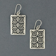 Sterling Silver Spirals in Rectangle Earrings