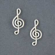 Sterling Silver G-Clef Post Earrings