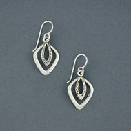 Sterling Silver Textured Double Diamond Earring