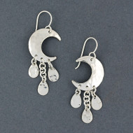 Sterling Silver Hammered Moon Earrings