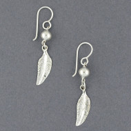 Sterling Silver Feather and Bead Earrings
