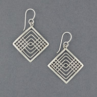 Sterling Silver Lines In Diamond Earrings