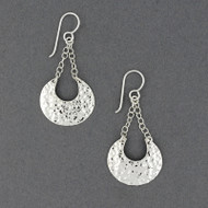 Sterling Silver Hammered Crescent Dangle Earrings