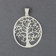 Sterling Silver Fancy Tree in Circle Pendant