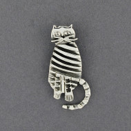 Sterling Silver Striped Cat Pendant