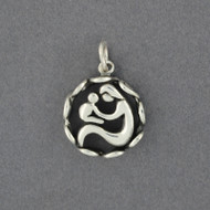 Sterling Silver Mother and Child in Frame Pendant