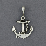 Sterling Silver Anchor and Chain Pendant