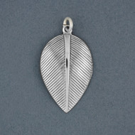 Sterling Silver Antiqued Curved Leaf Pendant