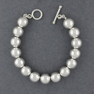 Sterling Silver 12mm Beaded Bracelet