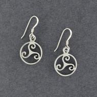 Sterling Silver Triskele in Circle Earrings