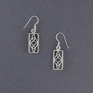 Sterling Silver Rectangle Trinity Knot Earrings
