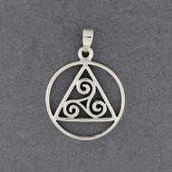 Sterling Silver Geometric Triskele Pendant