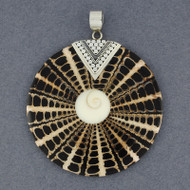 Shiva's Eye Black and Tan Mosaic Pendant